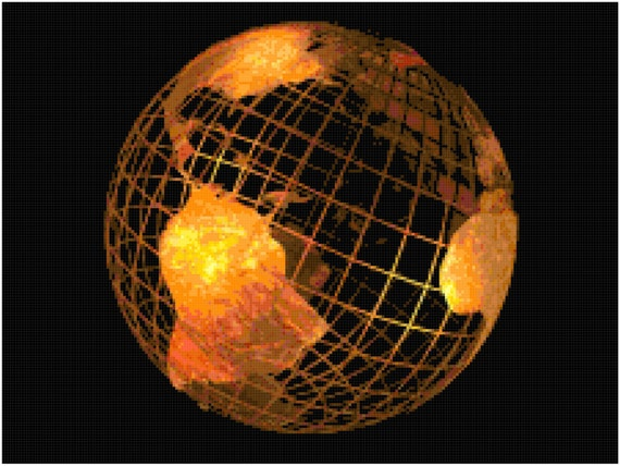 Copper Globe Counted Cross Stitch Pattern Chart PDF Download by Stitching Addiction