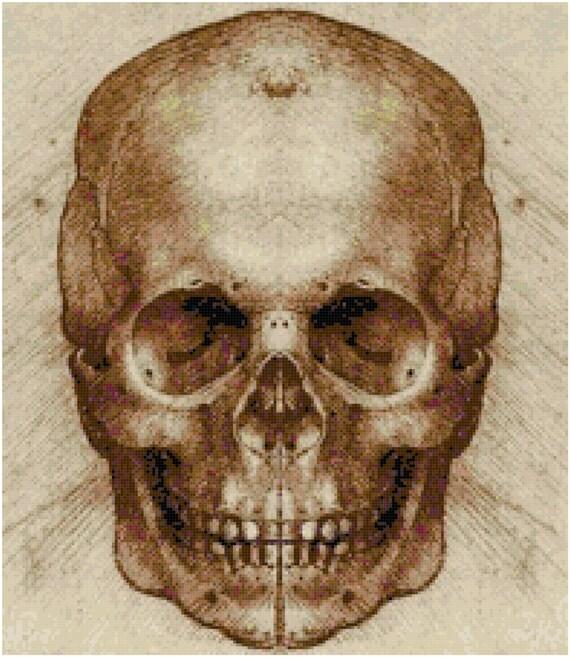 Leonardo Da Vinci Skull Sketch Drawing Counted Cross Stitch Pattern Chart PDF Download by Stitching Addiction