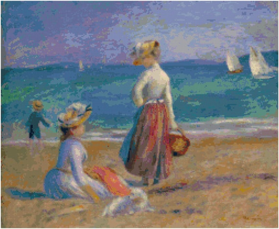 Renoir Figures on the Beach Counted Cross Stitch Pattern Chart PDF Download by Stitching Addiction