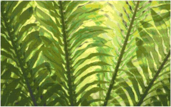 Fern Fronds Landscape Counted Cross Stitch Pattern Chart PDF Download by Stitching Addiction