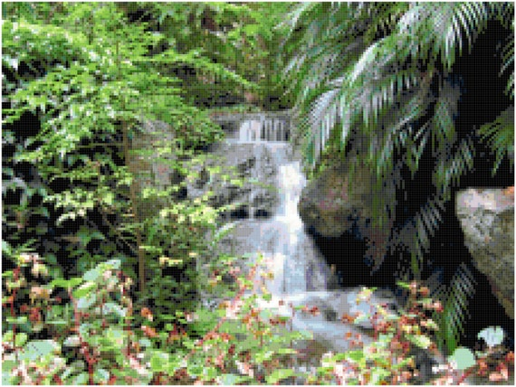 Jungle Waterfall Landscape Counted Cross Stitch Pattern Chart PDF Download by Stitching Addiction