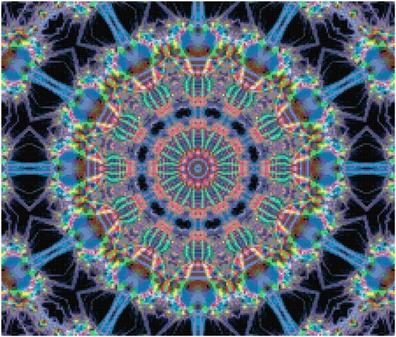 Abstract Fractal Medallion Counted Cross Stitch Pattern Chart PDF Download by Stitching Addiction