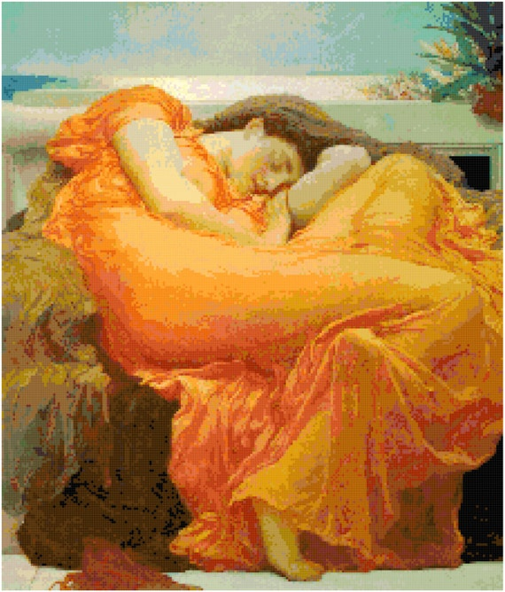 Frederic Lord Leighton Flaming June Counted Cross Stitch Pattern Chart PDF Download by Stitching Addiction