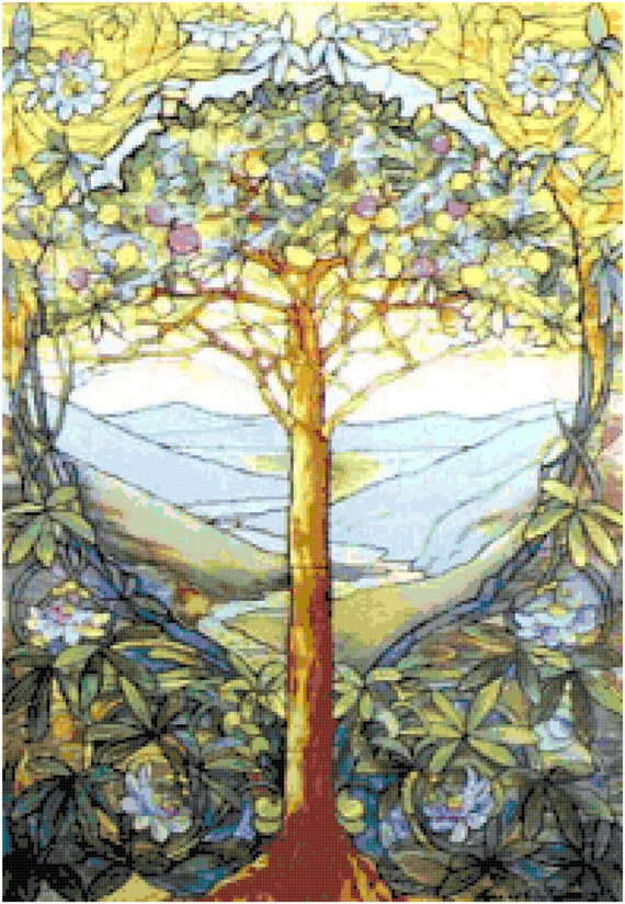 Louis Comfort Tiffany Tree of Life Counted Cross Stitch Pattern Chart PDF Download by Stitching Addiction