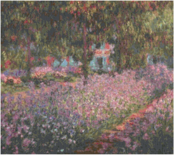 Claude Monet Artist's Garden at Giverny Counted Cross Stitch Pattern Chart PDF Download by Stitching Addiction