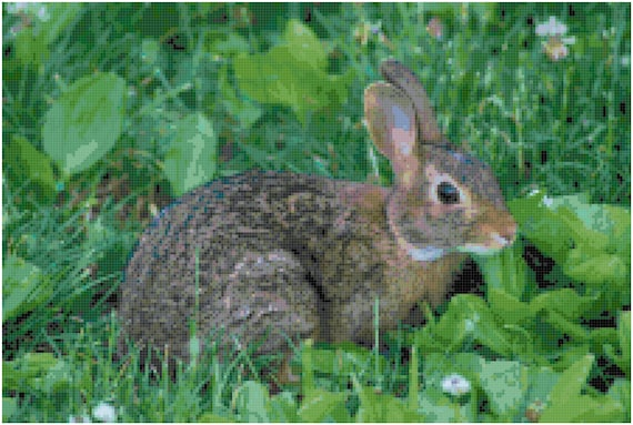 Bunny Rabbit in Greenery Counted Cross Stitch Pattern Chart PDF Download by Stitching Addiction