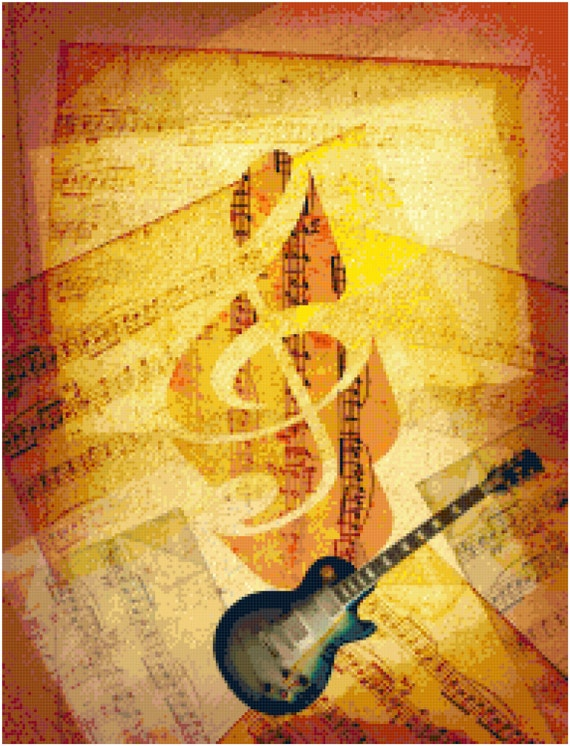Guitar with Sheet Music Counted Cross Stitch Pattern Chart PDF Download by Stitching Addiction
