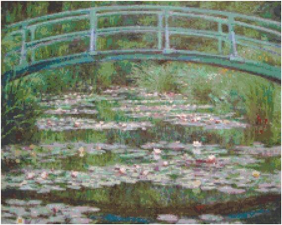 Claude Monet Japanese Footbridge Counted Cross Stitch Pattern Chart PDF Download by Stitching Addiction