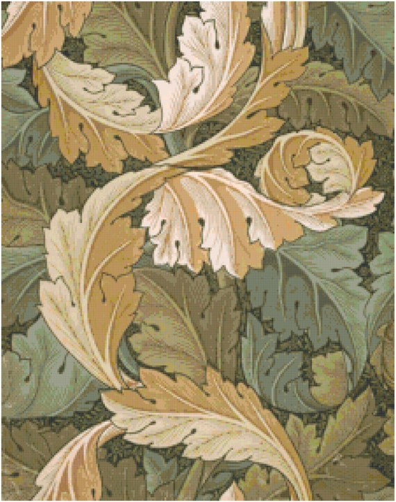 William Morris Acanthus Leaves Wallpaper Design Counted Cross Stitch Pattern Chart PDF Download by Stitching Addiction