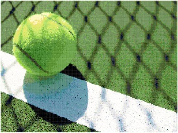 Tennis Ball Counted Cross Stitch Pattern Chart PDF Download by Stitching Addiction