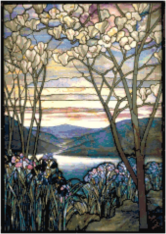 Louis Comfort Tiffany Magnolias and Irises Counted Cross Stitch Pattern Chart PDF Download by Stitching Addiction