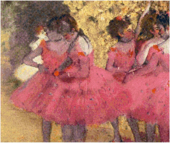 Edgar Degas Dancers in Pink Counted Cross Stitch Pattern Chart PDF Download by Stitching Addiction