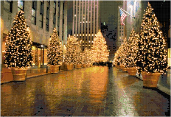 Christmas in New York Counted Cross Stitch Pattern Chart PDF Download by Stitching Addiction