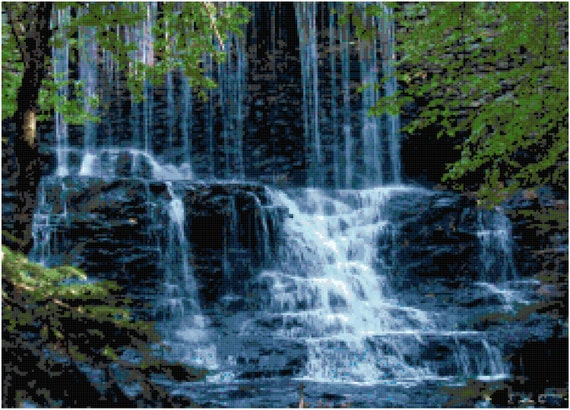 Waterfall Amidst the Trees Landscape Counted Cross Stitch Pattern Chart PDF Download by Stitching Addiction