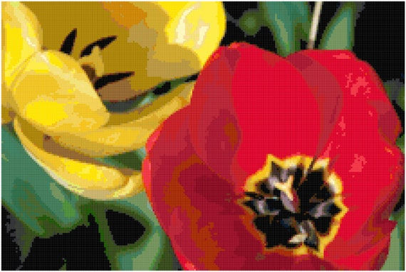 Red and Yellow Tulips Counted Cross Stitch Pattern Chart PDF Download by Stitching Addiction