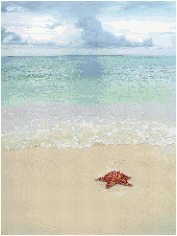 Starfish on the Beach Counted Cross Stitch Pattern Chart PDF Download by Stitching Addiction