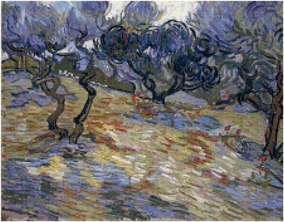 Vincent Van Gogh Olive Trees Counted Cross Stitch Pattern Chart PDF Download by Stitching Addiction