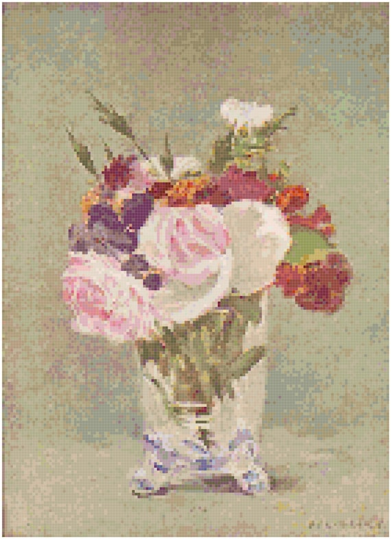 Edouard Manet Vase of Flowers Counted Cross Stitch Pattern Chart PDF Download by Stitching Addiction