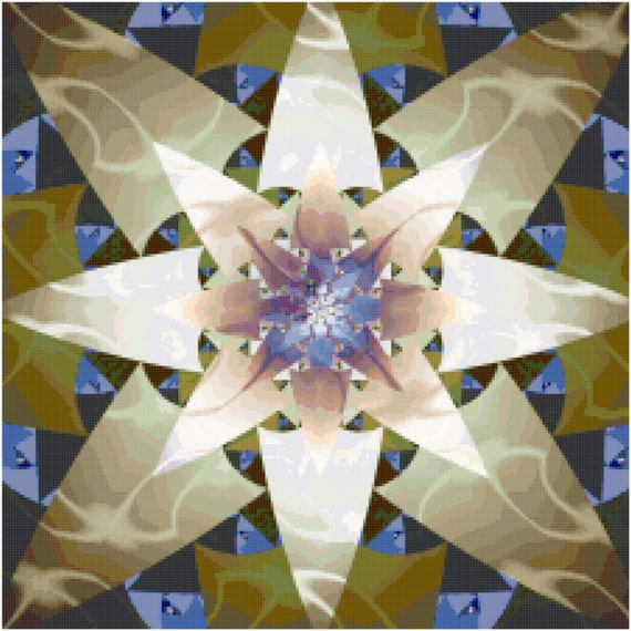 Olive Star Abstract Fractal Counted Cross Stitch Pattern Chart PDF Download by Stitching Addiction