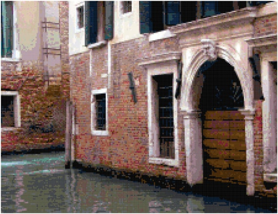 Streets of Venice Italy Landscape Counted Cross Stitch Pattern Chart PDF Download by Stitching Addiction