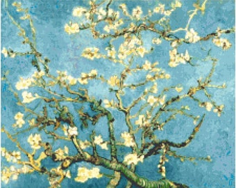 Vincent Van Gogh Almond Blossoms Branches Teal Counted Cross Stitch Pattern Chart PDF Download by Stitching Addiction