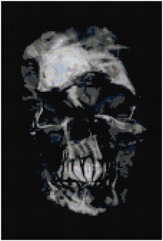 Warped Skull Halloween Counted Cross Stitch Pattern Chart PDF Download by Stitching Addiction
