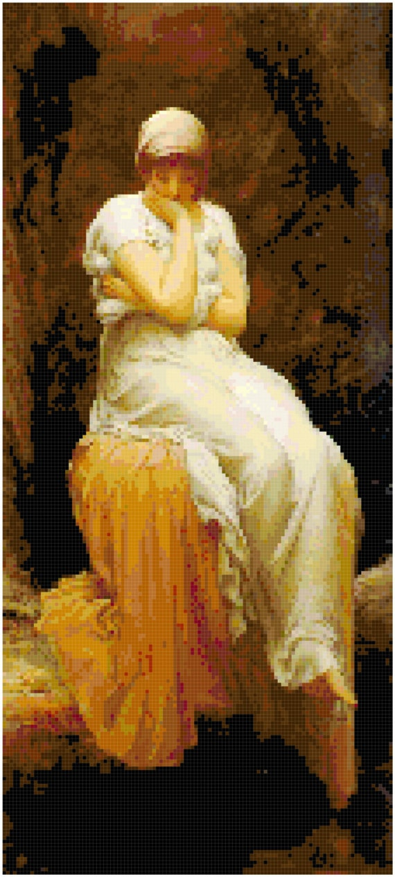 Sir Frederic Leighton Solitude Counted Cross Stitch Pattern Chart PDF Download by Stitching Addiction