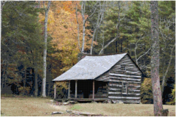 Cabin in the Woods Landscape Counted Cross Stitch Pattern Chart PDF Download by Stitching Addiction