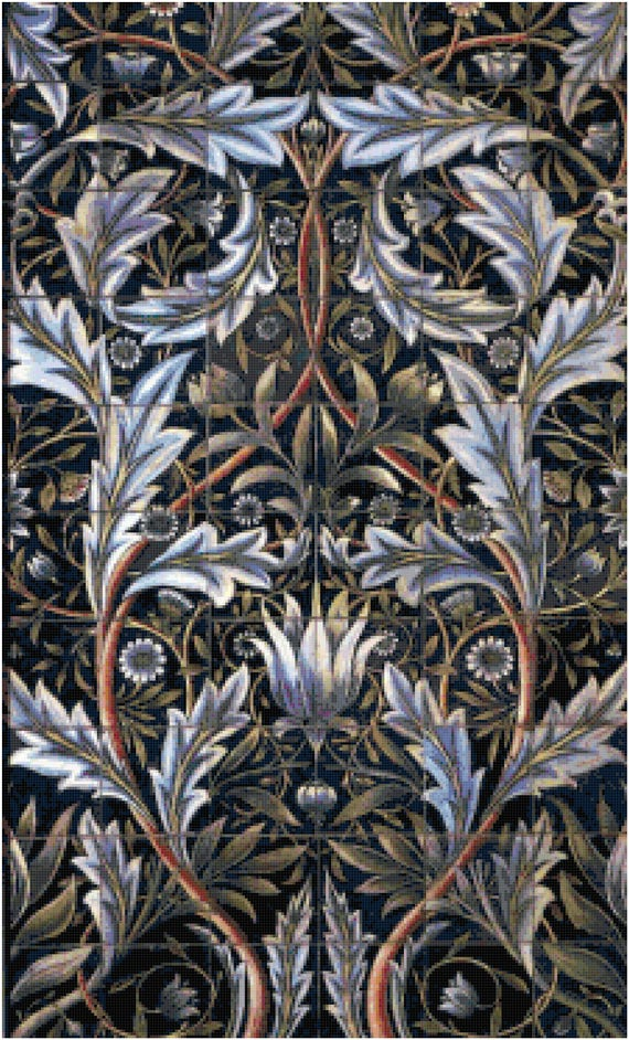 William Morris Flower Tiles Tapestry Design Counted Cross Stitch Pattern Chart PDF Download by Stitching Addiction