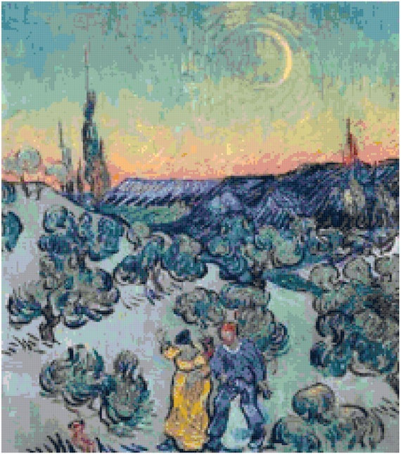 Vincent Van Gogh Evening Stroll Counted Cross Stitch Pattern Chart PDF Download by Stitching Addiction