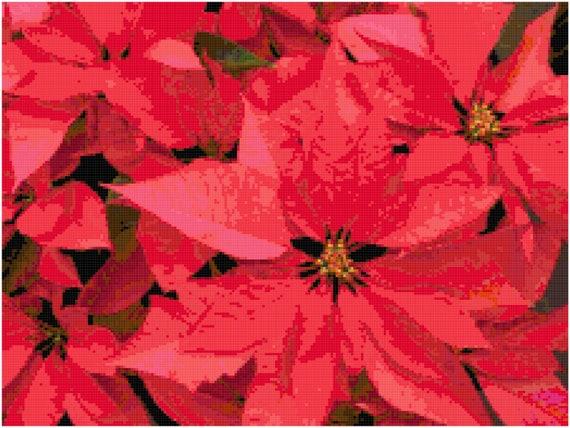 Christmas Poinsettia Counted Cross Stitch Pattern Chart PDF Download by Stitching Addiction