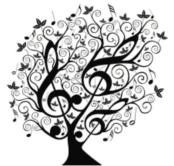 Music Treble Clef Tree Counted Cross Stitch Pattern Chart PDF Download by Stitching Addiction