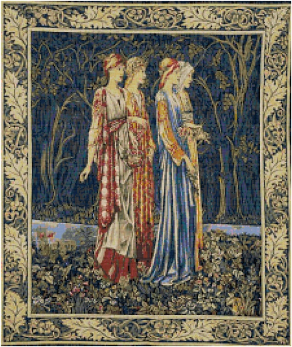 William Morris Bridesmaids Tapestry Design Counted Cross Stitch Pattern Chart PDF Download by Stitching Addiction