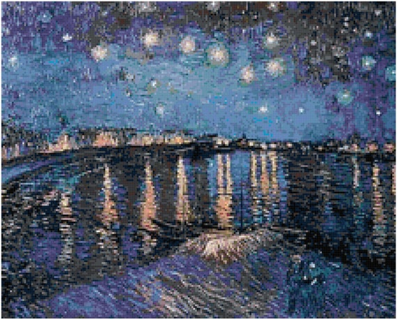 Vincent Van Gogh Starry Night Over the Rhone Counted Cross Stitch Pattern Chart PDF Download by Stitching Addiction