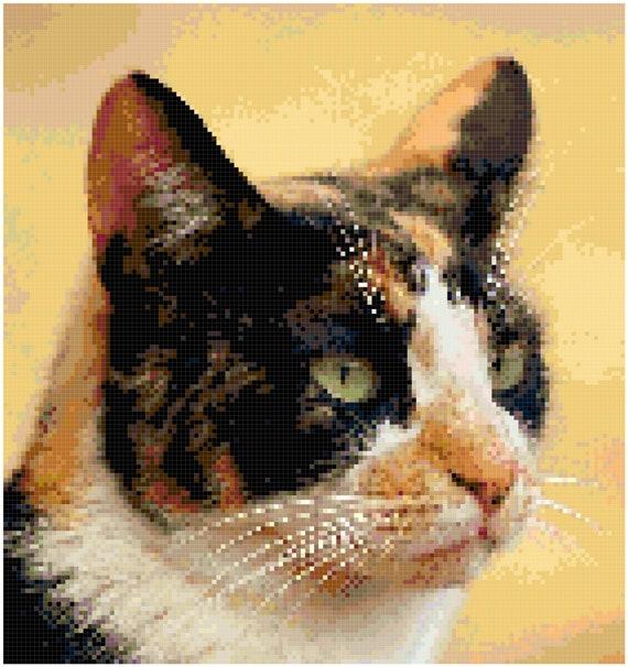 Calico Cat Counted Cross Stitch Pattern Chart PDF Download by Stitching Addiction