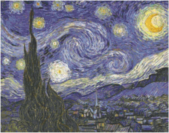 Vincent Van Gogh Starry Starry Night Counted Cross Stitch Pattern Chart PDF Download by Stitching Addiction