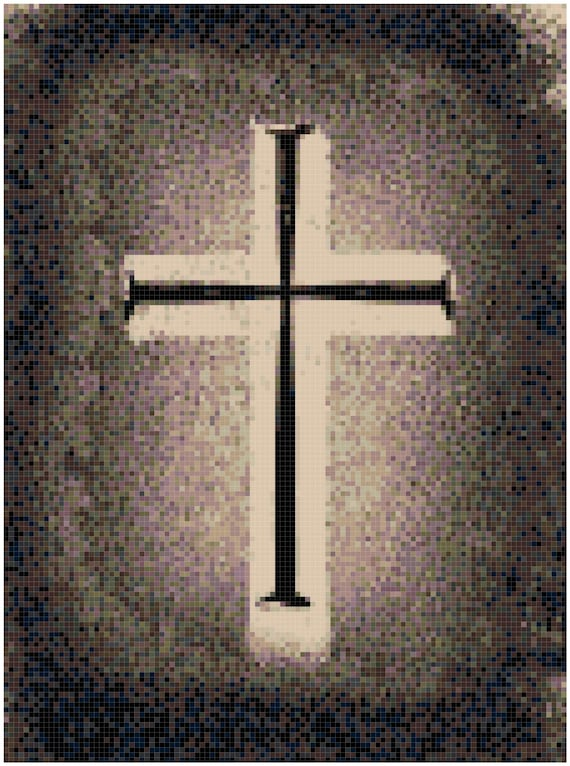 Cross on an Old Leather Bible Counted Cross Stitch Pattern Chart PDF Download by Stitching Addiction