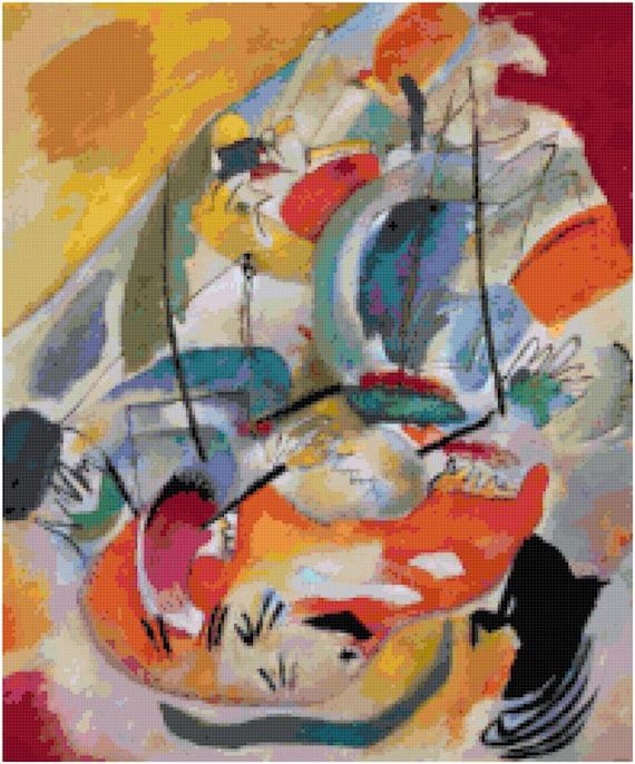 Wassily Kandinsky Improvisation of a Sea Battle Counted Cross Stitch Pattern Chart PDF Download by Stitching Addiction