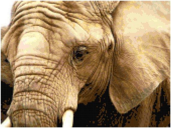 Elephant Counted Cross Stitch Pattern Chart PDF Download by Stitching Addiction