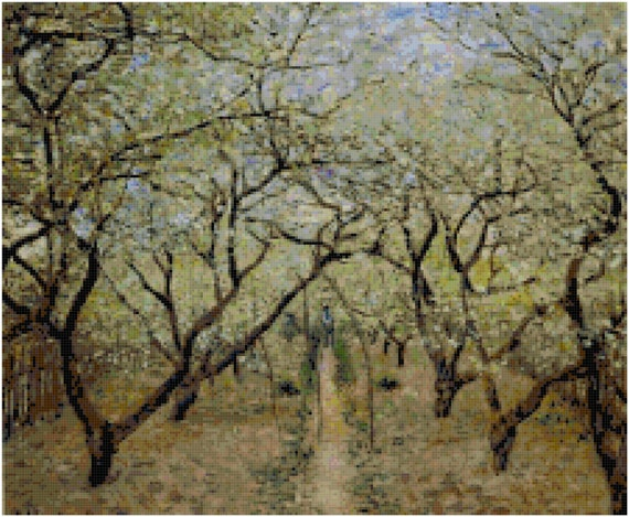 Claude Monet Orchard in Bloom Counted Cross Stitch Pattern Chart PDF Download by Stitching Addiction