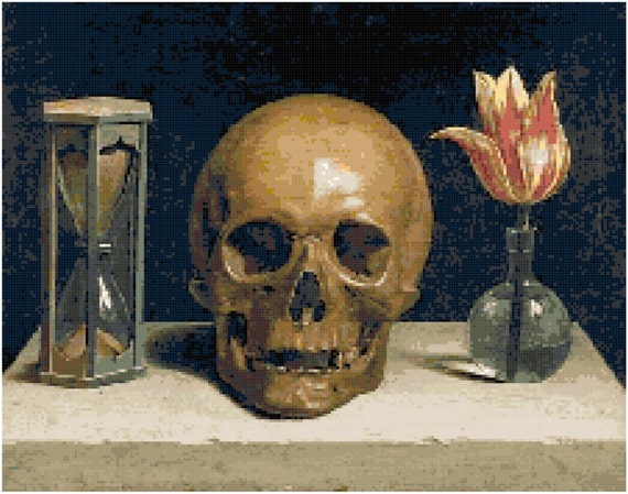 Philippe de Champaigne Vanitas Skull Painting Counted Cross Stitch Pattern Chart PDF Download by Stitching Addiction
