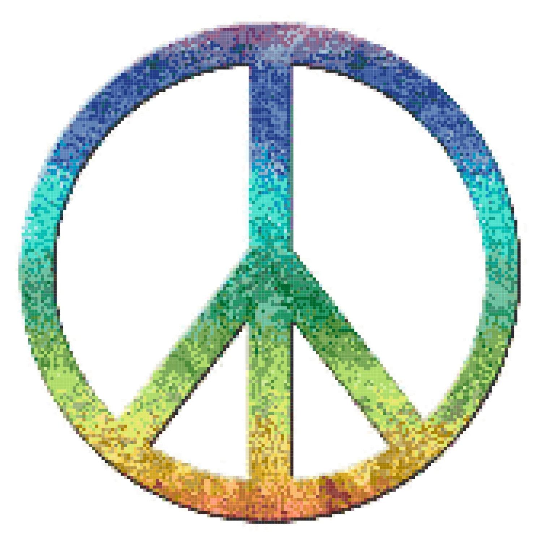 Peace Symbol Rainbow Counted Cross Stitch Pattern Chart Pdf Download
