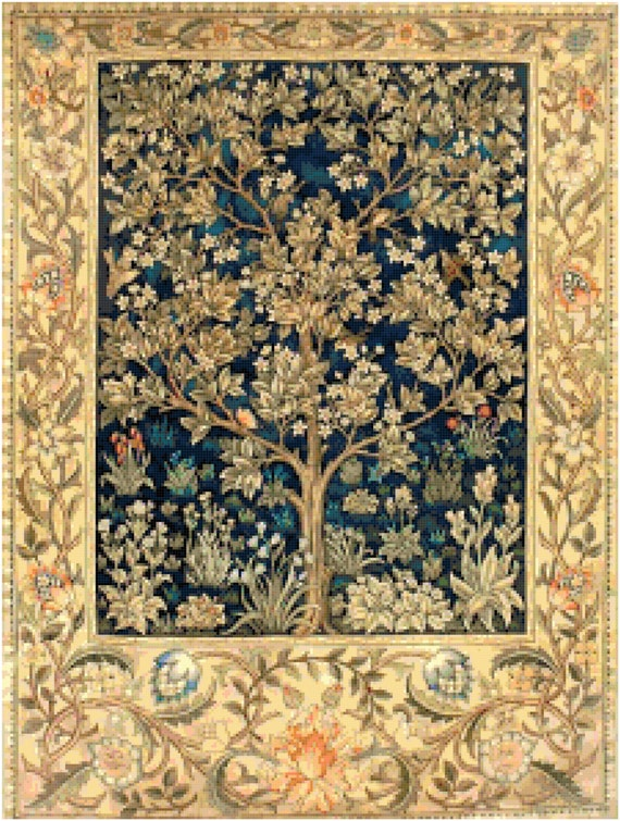 William Morris Garden of Delight Tapestry Design Counted Cross Stitch Pattern Chart PDF Download by Stitching Addiction
