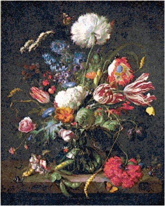 Jan Davidsz de Heem Vase of Flowers Counted Cross Stitch Pattern Chart PDF Download by Stitching Addiction
