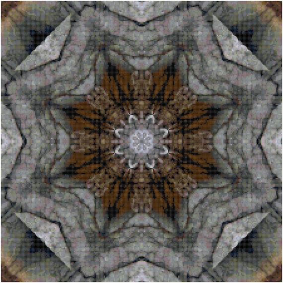 Wood Stone Mosaic Abstract Fractal Counted Cross Stitch Pattern Chart PDF Download by Stitching Addiction