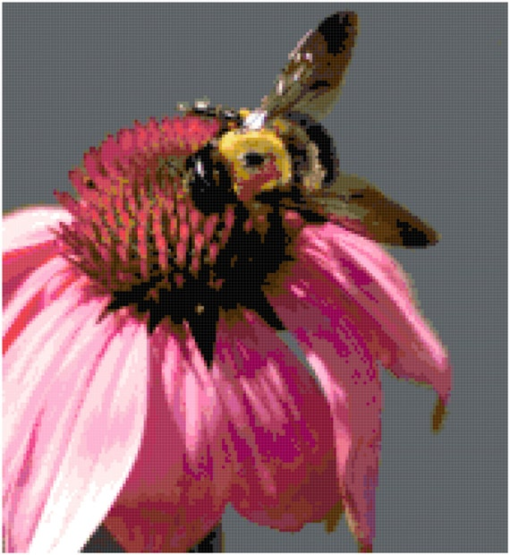 Bumblebee on a Flower Counted Cross Stitch Pattern Chart PDF Download by Stitching Addiction