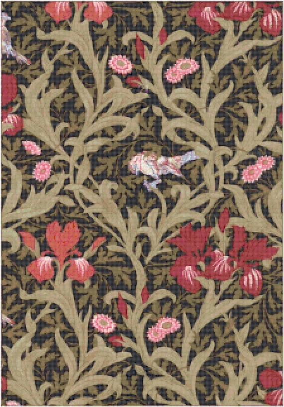 William Morris Berries Birds and Irises Floral Wallpaper Design Counted Cross Stitch Pattern Chart PDF Download by Stitching Addiction