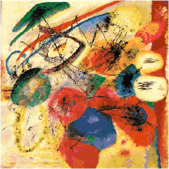 Wassily Kandinsky Black Lines Counted Cross Stitch Pattern Chart PDF Download by Stitching Addiction