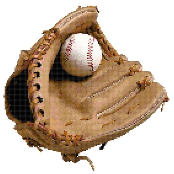 Baseball Glove Counted Cross Stitch Pattern Chart PDF Download by Stitching Addiction