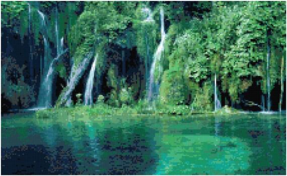 Jungle Lagoon Waterfall Landscape Counted Cross Stitch Pattern Chart PDF Download by Stitching Addiction